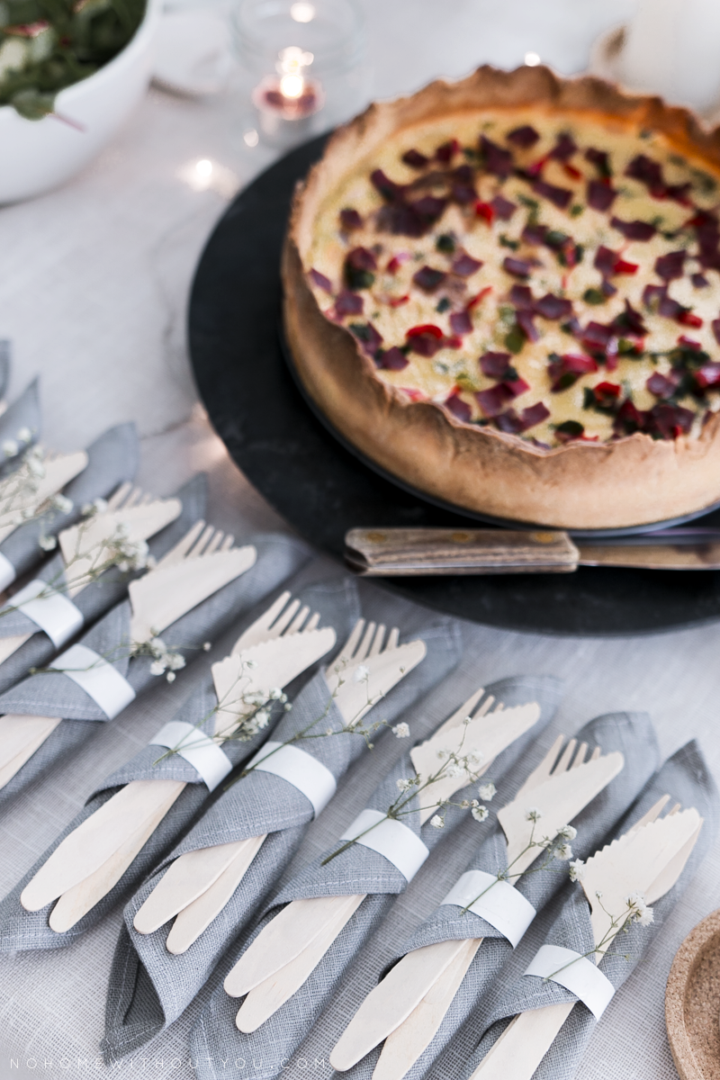 quiche cheese pie table setting